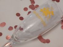 Personalised Wedding Champagne Glass Flower & Role